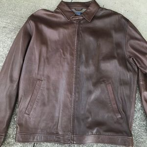 Polo Ralph Lauren leather Harrington jacket brown